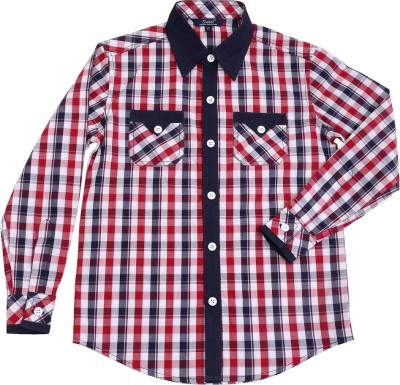Swan Fashion Boy's Checkered Casual Reversible Red, Black Shirt