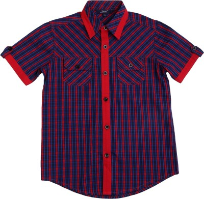 Swan Fashion Boy's Checkered Casual Reversible Dark Blue, Red Shirt