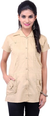 VV Passion Women's Solid Casual Beige Shirt
