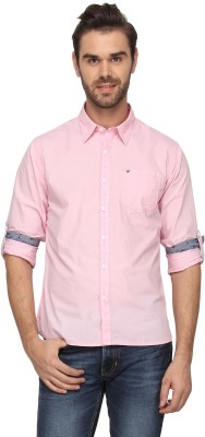 T-Base Men's Solid Casual Pink Shirt