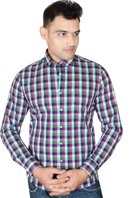 Fabrobe Men's Checkered Casual Red, Blue, White Shirt