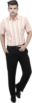 koutons outlaw Men's Striped Formal Orange Shirt