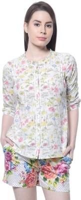 Florrie Fusion Women's Printed Casual White Shirt