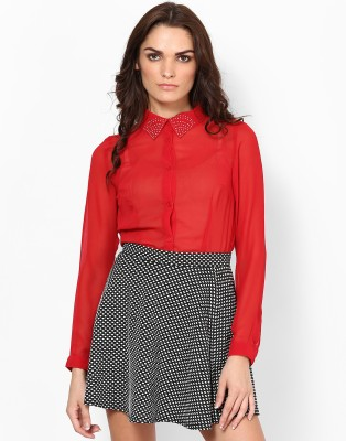 Kaxiaa Women's Solid Casual Red Shirt
