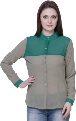 The Runner Women,s Solid Casual Green Shirt