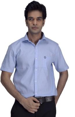 Threadbow Men's Woven Formal Blue Shirt