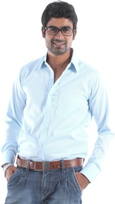 S9 Men's Striped Formal Blue, White Shirt