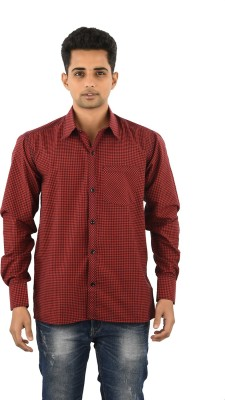 Five On Five Men's Striped Casual Red Shirt