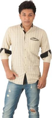 Z-Plus Men's Solid Casual Beige Shirt