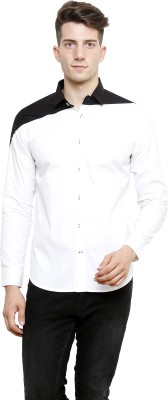 NFC Men's Solid Casual White, Black Shirt