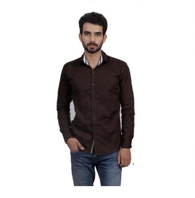 Mild Kleren Men's Solid Casual Brown Shirt