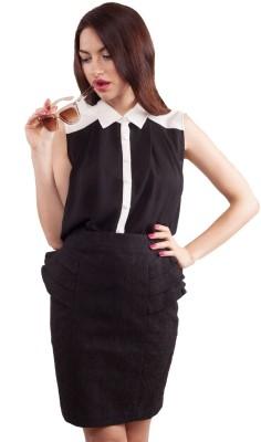 Honey & Beau Women's Solid Party Black Shirt