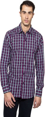 Lee Marc Men's Checkered Casual Purple, White Shirt