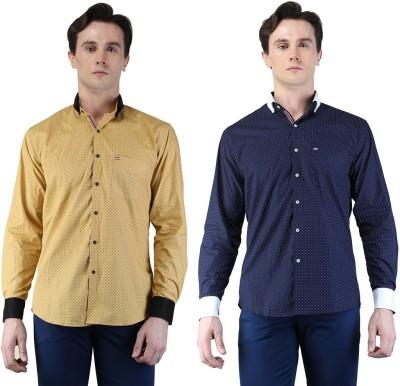 Magnoguy Men's Polka Print Casual Beige, Blue Shirt
