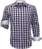 Darium Men's Checkered Casual White, Pur...