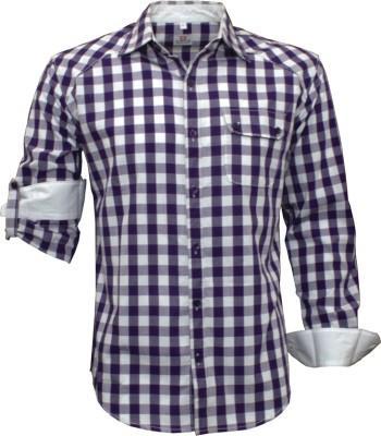 Darium Men's Checkered Casual White, Purple Shirt