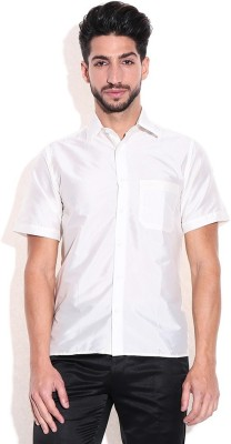 KENRICH Men's Solid Wedding, Sports, Festive White Shirt