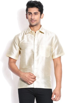 KENRICH Men's Solid Wedding, Casual, Party, Formal, Festive White Shirt