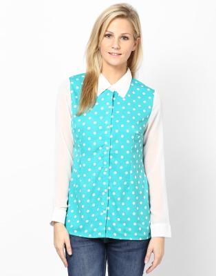 Kaxiaa Women's Printed Casual Light Blue Shirt