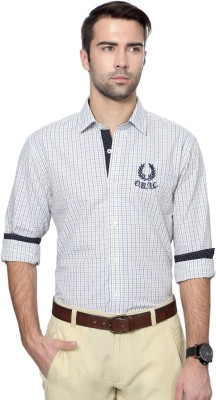 University of Oxford Men's Checkered Casual White Shirt