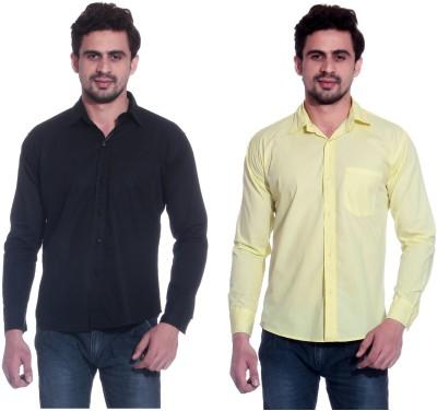 Calibro Men's Solid Formal Black, Yellow Shirt