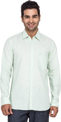 Laven Men's Solid Casual Green Shirt