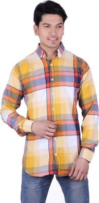 Thread Swag Men's Checkered Casual Yellow, Multicolor Shirt