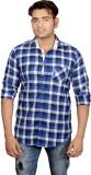 Lomhara Men's Checkered Casual Blue Shir...