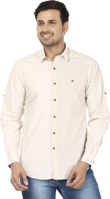 Wills Lifestyle Men's Self Design Casual White Shirt