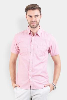 Crocodile Men's Solid Casual Pink Shirt