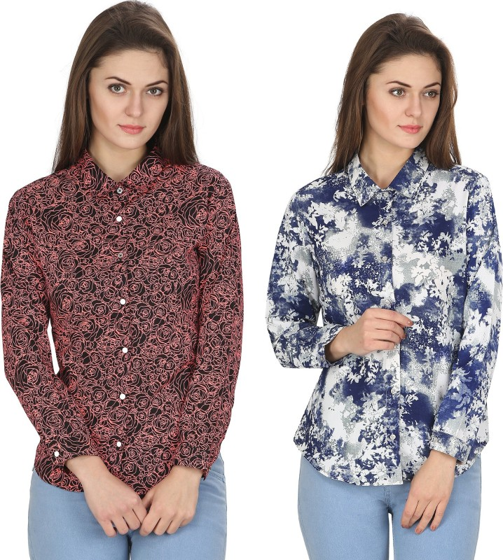 Alfa Fashion Women's Floral Print Casual Multicolor Shirt(Pack of 2)