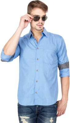 Slub By INMARK Men's Solid Casual Blue Shirt