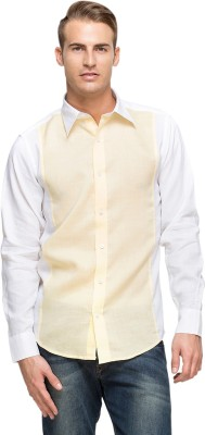 Oxolloxo Men's Solid Formal Yellow Shirt