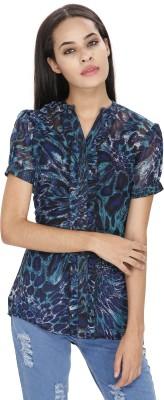 Ragdoll Women's Printed Casual Blue Shirt