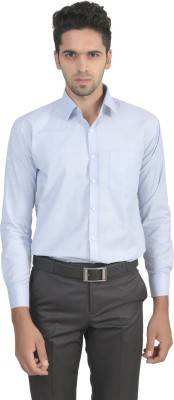 ManQ Men's Solid Formal Blue Shirt