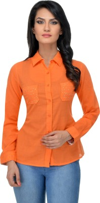 Urban Republic Women's Solid Casual Orange Shirt