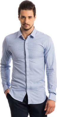 Specimen Men,s Houndstooth Formal Blue Shirt