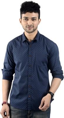 St. Germain Men's Printed Casual Dark Blue Shirt
