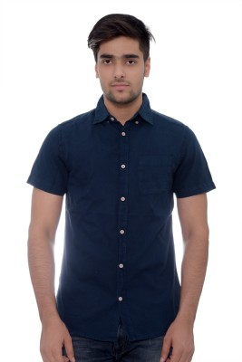 Parv Collections Men's Solid Formal Blue Shirt
