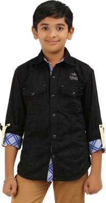 Cub Kids Boy's Printed Casual Black Shirt