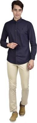 Zid Clothing Men's Solid Casual Dark Blue Shirt