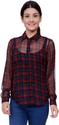 Lamora Women's Checkered Casual Red Shirt