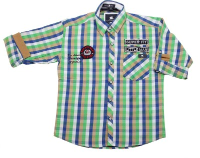 Little Man Boys Checkered Casual Green Shirt