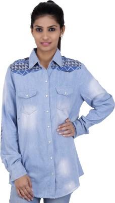 Zachi Women's Solid Casual Blue Shirt