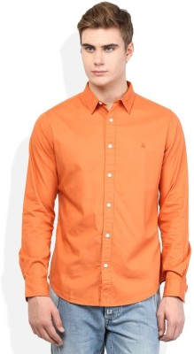 Alian Men's Solid Casual Orange Shirt