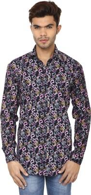 Lowcha Men,s Printed Casual Dark Blue, Pink Shirt