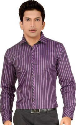 Red Country Men's Striped Casual Purple Shirt