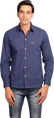Riwas Collection Men's Polka Print Casual Blue, White Shirt