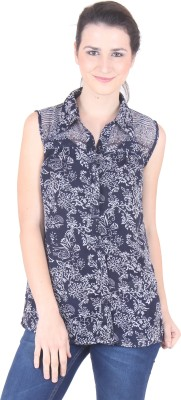 SS Women's Printed Casual Blue Shirt