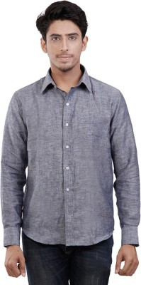 Aam Fabrics Men's Solid Casual Linen Grey Shirt
